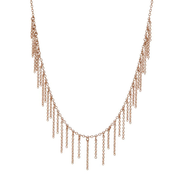 The Chain Fringe Necklace- Rose Gold