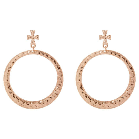 The Hammered Cross Hoops- Rose Gold