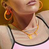 Rainbow Amalfi Hoops- Neon Orange