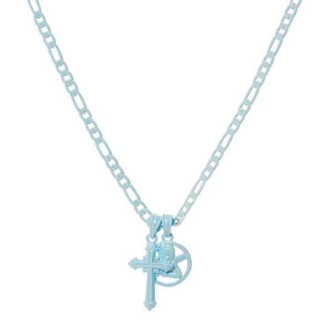 Rainbow Double Charm Necklace- Baby Blue