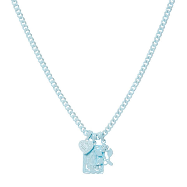 Rainbow Triple Charm Necklace- Baby Blue (Ships Early June)