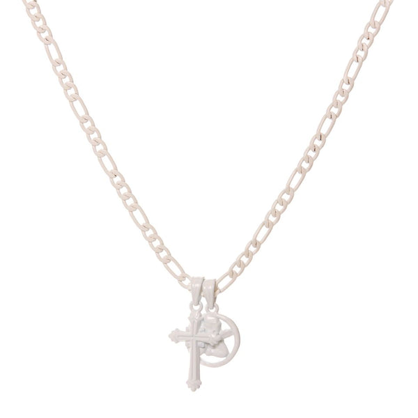 Rainbow Double Charm Necklace- White (Ships Late April)