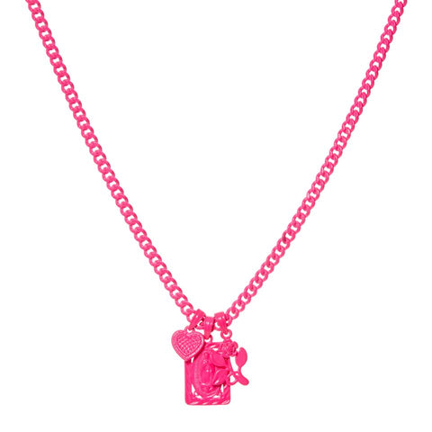 Rainbow Triple Charm Necklace- Neon Pink