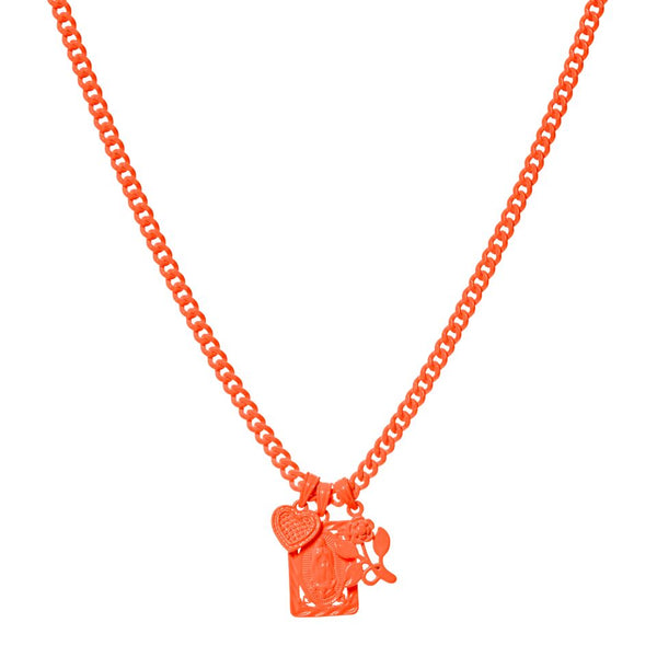 Rainbow Triple Charm Necklace- Neon Orange