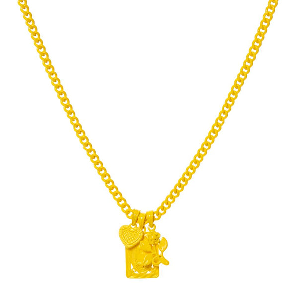 Rainbow Triple Charm Necklace- Yellow