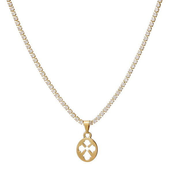 Nouveau Cross Pendant Necklace- Gold