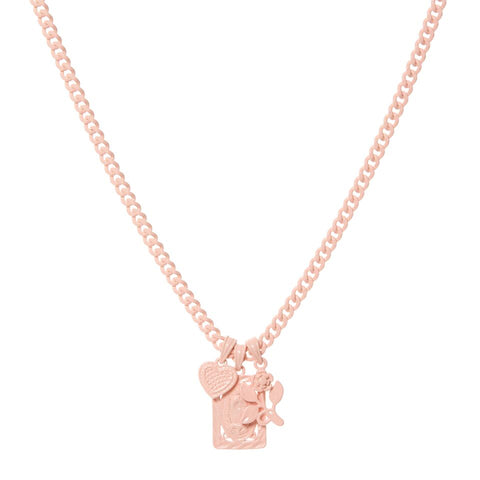 Rainbow Triple Charm Necklace- Baby Pink