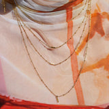 Ombre Bar Multi Charm Necklace- Rose Gold
