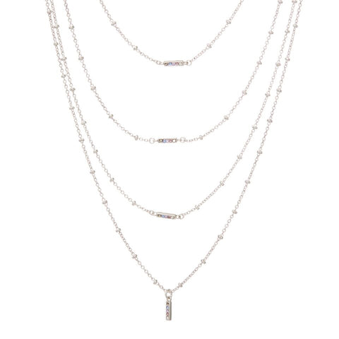 Ombre Bar Multi Charm Necklace- Silver