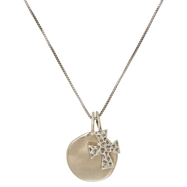 The Hammered Cross + Coin Necklace- Silver