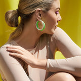 Rainbow Amalfi Hoops- Neon Green