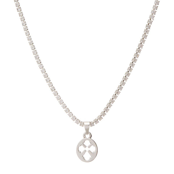 Nouveau Cross Pendant Necklace- Silver