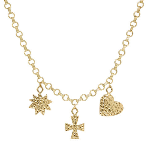 The Hammered Charm Necklace- Gold