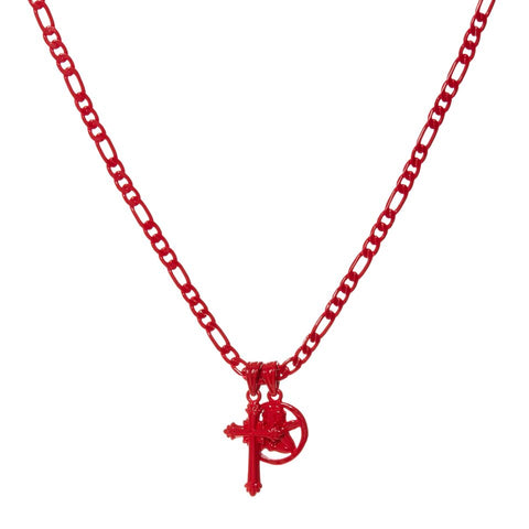 Rainbow Double Charm Necklace- Red