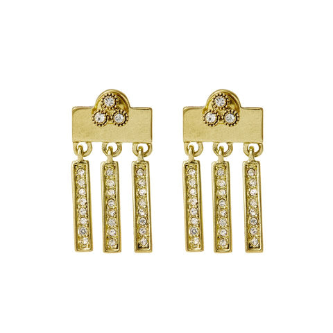 The Moroccan Dangle Studs- Gold
