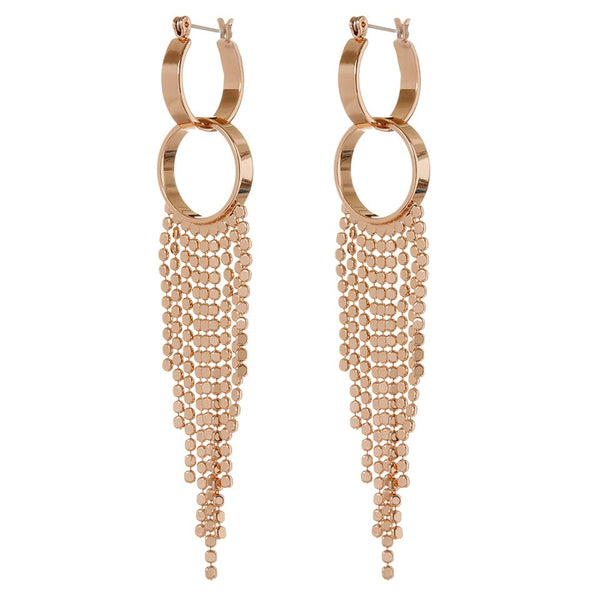 The Double Loop Fringe Hoops- Rose Gold