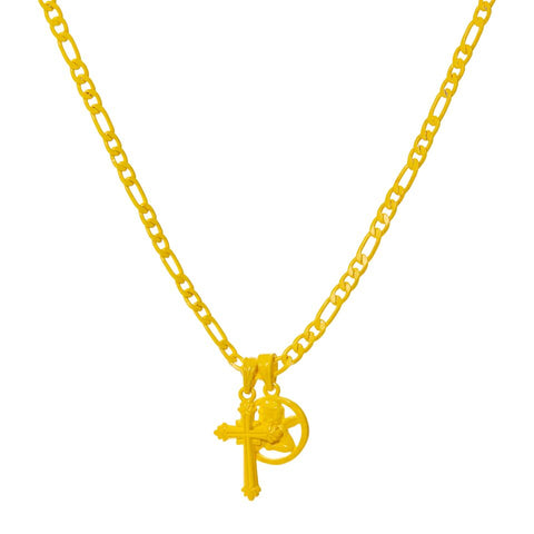 Rainbow Double Charm Necklace- Yellow