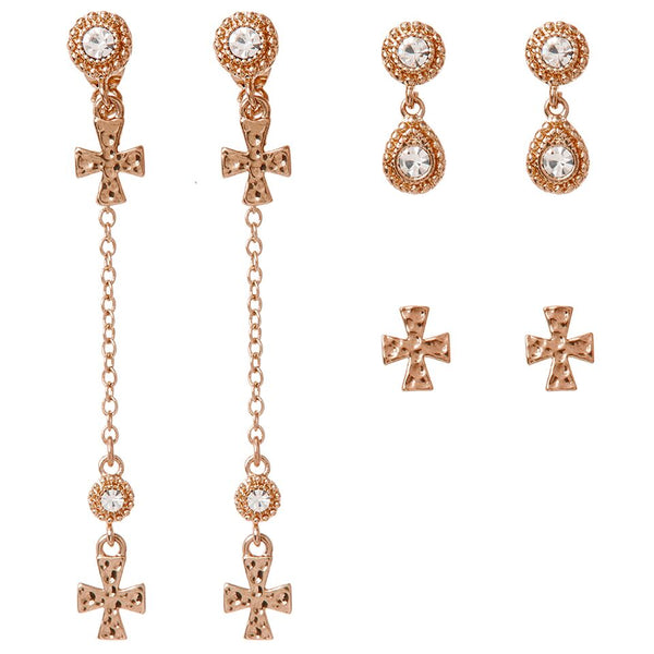 The Moroccan Dangle Cross Studs Set- Rose Gold