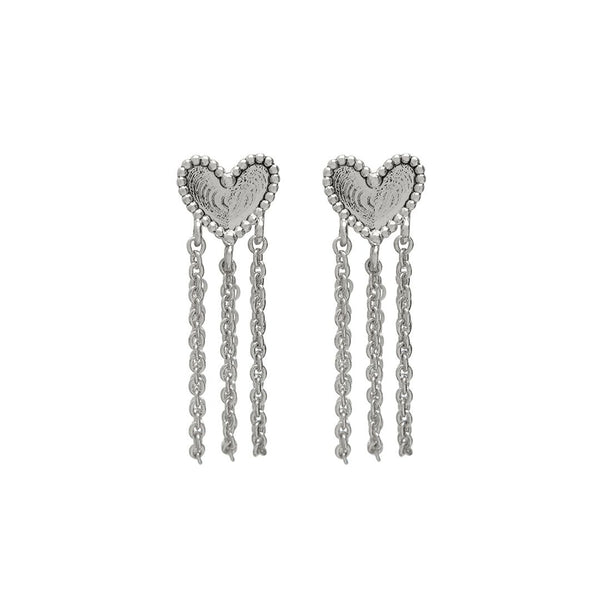 Heart Chain Studs- Silver