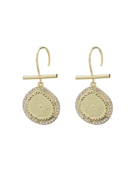 Pave Coin Hook Earrings- Gold