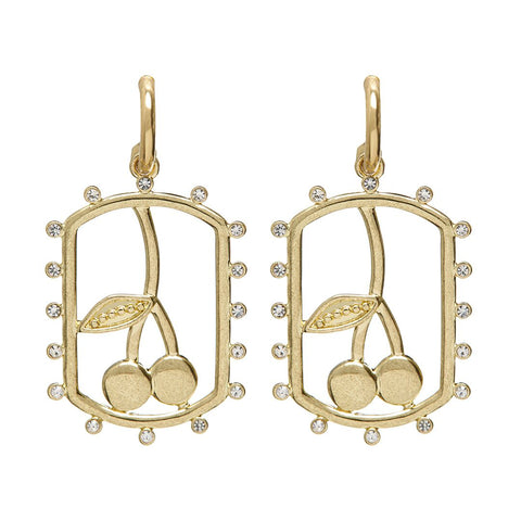 Cherry Dog Tag Hoops- Gold