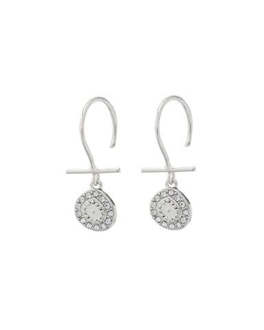 Mini Pave Coin Hook Earrings- Silver
