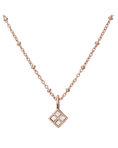 Diamond Charm Necklace- Rose Gold