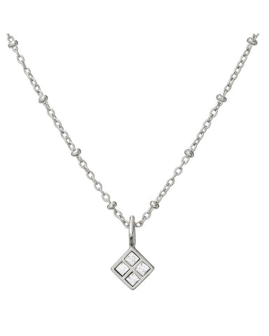 Diamond Charm Necklace- Silver