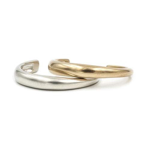 CALA cuffs in brushed bronze and silver