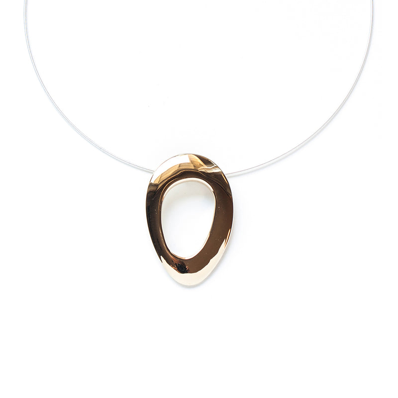 polished bronze sculptural necklace handmade by MGG Studio