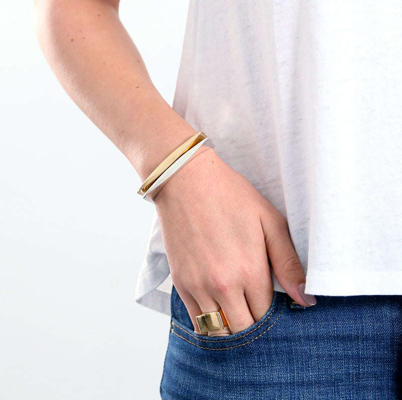 stacked mixed metal cuff bracelets
