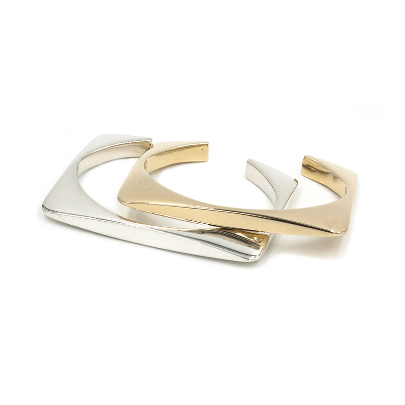 minimal handmade cuff bracelets in silver and bronze from MGG Studio