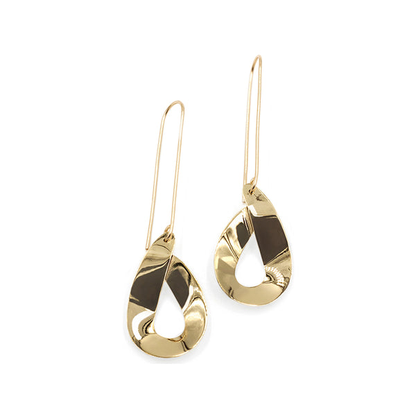 highly polished curved dangle earrings in brass and 14k gold fill from MGG Studio