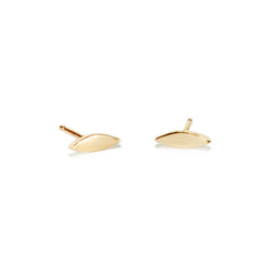 14k recycled gold oval stud earrings handmade by MGG Studio