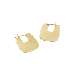 ELA square brushed brass hoops from MGG Studio