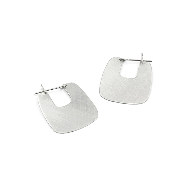 ELA square brushed silver hoops from MGG Studio