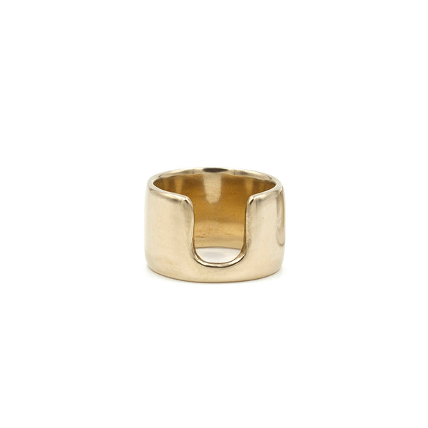 polished bronze sculptural wide band ring from MGG Studio
