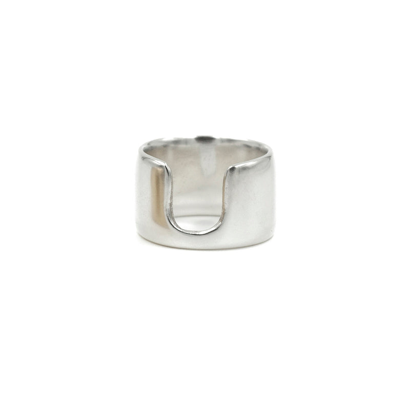 polished sterling silver wide band ring with opening from MGG Studio
