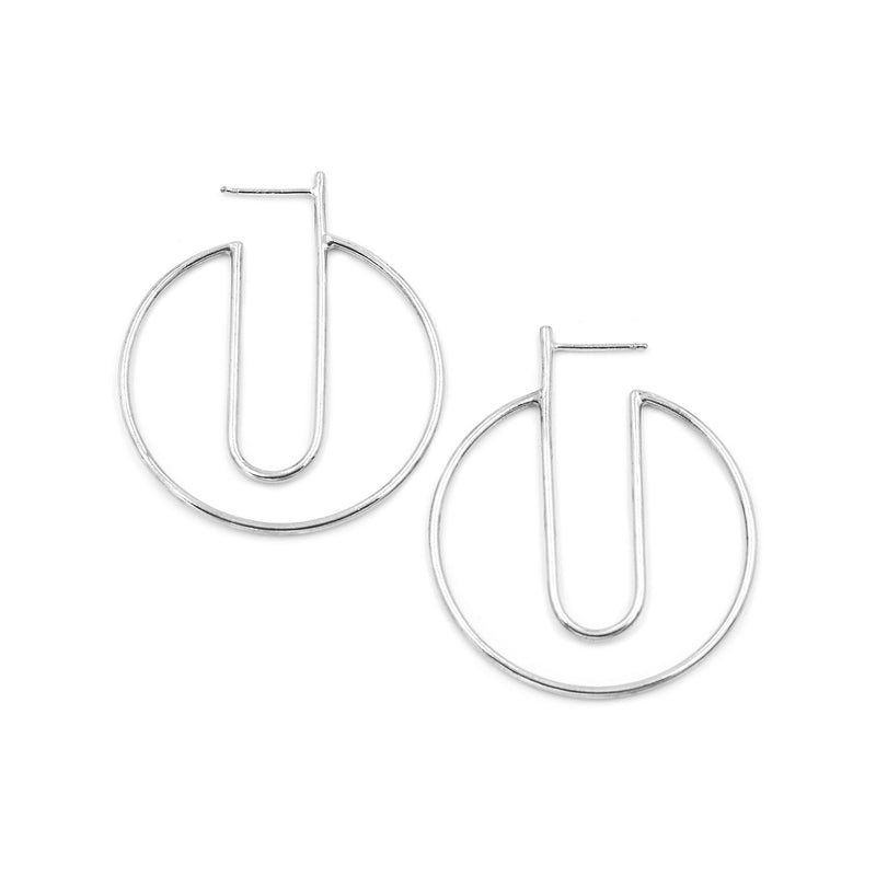 recycled sterling silver geometric hoops by MGG Studio