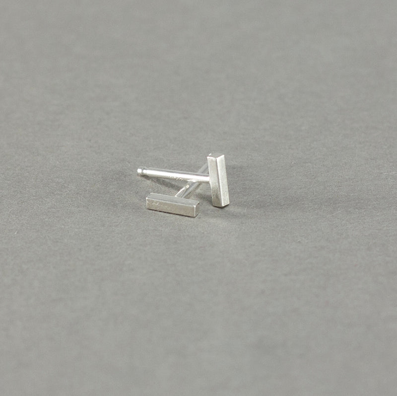 tiny bar stud earrings handmade in California from recycled sterling silver by MGG Studio