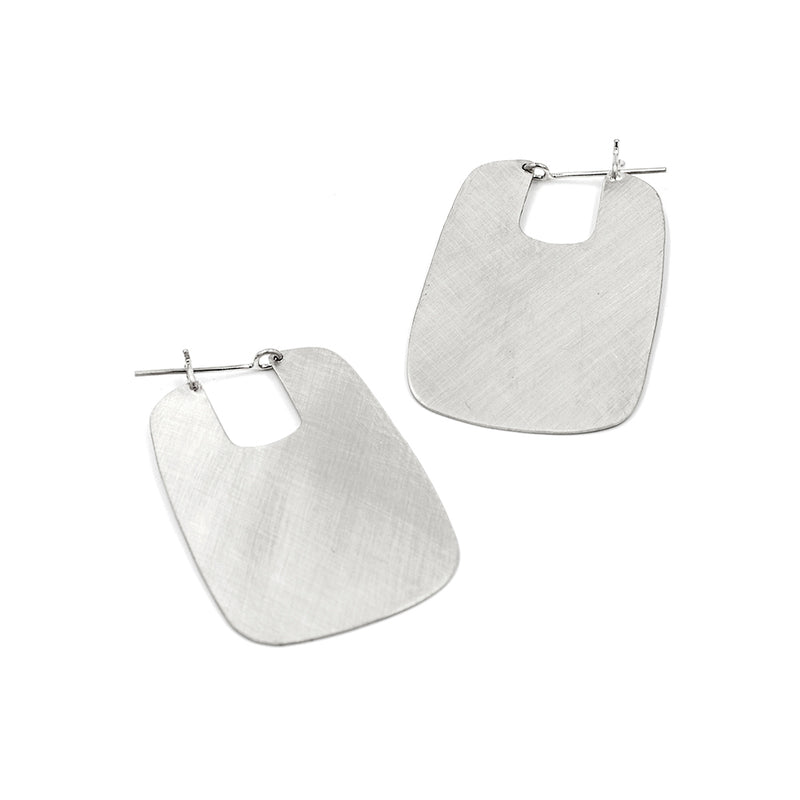 brushed finish sterling silver rectangle hoops from MGG Studio