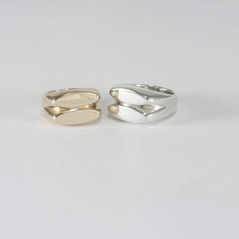 FEMINA signet rings in recycled silver and recycled bronze handmade by MGG Studio