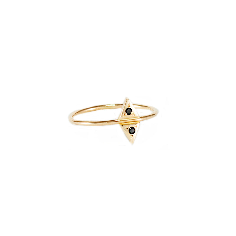 ecofriendly 14k gold and black diamond ring from MGG Studio handmade in California