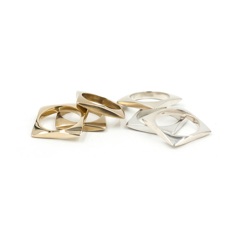 ecofriendly golden bronze and silver geometric stacking rings from MGG Studio