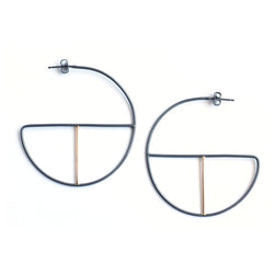 large mixed metal geometric hoop earrings handmade in California by MGG Studio