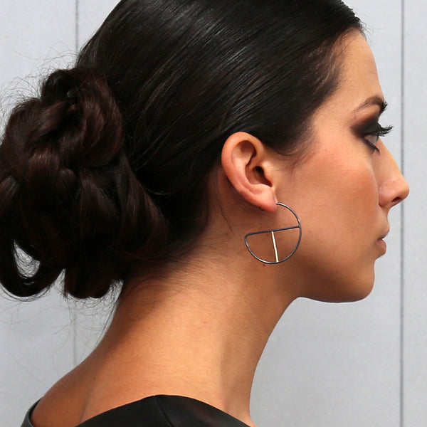 handmade mixed metal geometric hoop earrings by MGG Studio