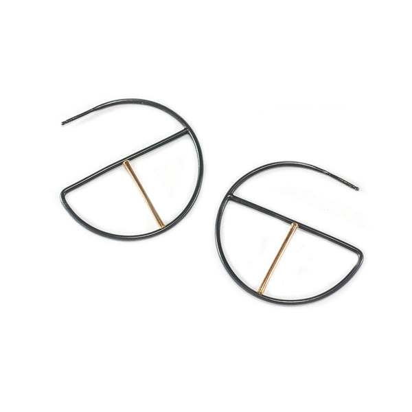 black and gold geometric hoop earrings handmade by MGG Studio