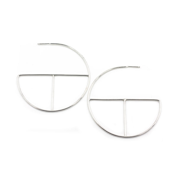 recycled silver ecofriendly handmade modern hoop earring