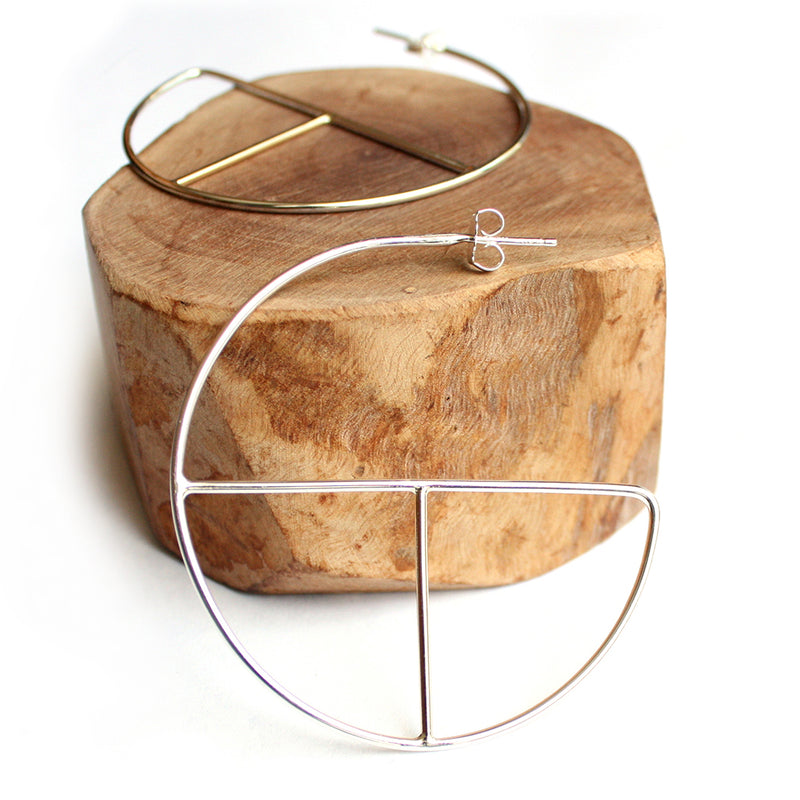 handmade silver geometric hoops by MGG Studio