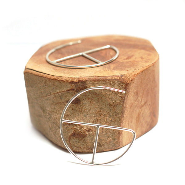 ecofriendly recycled silver geometric hoop earrings by MGG Studio
